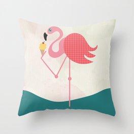 Flamingo has an ice cream Throw Pillow