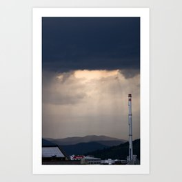 Storm and rain over residential area of Ljubljana. Art Print