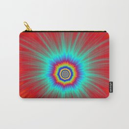 Turquoise Explosion  on Red  Carry-All Pouch