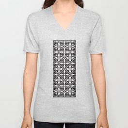 Ethnic tile pattern black Unisex V-Neck