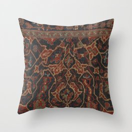 Boho Chic Dark II // 17th Century Colorful Medallion Red Blue Green Brown Ornate Accent Rug Pattern Throw Pillow