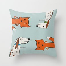 The fox and the hound look disgruntled at one another. Throw Pillow