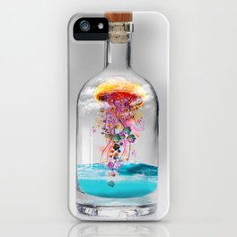 Electric Jellyfish Worlds in  a Bottle iPhone Case