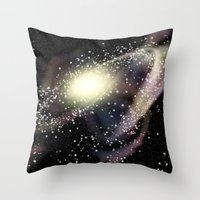 rileigh smirl Throw Pillows featuring Galaxy by Rileigh Smirl