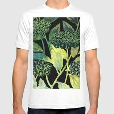 Dark floral with golden accent MEDIUM White Mens Fitted Tee