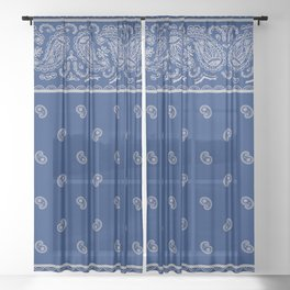 Classic Navy Blue with Gay Bandana Sheer Curtain