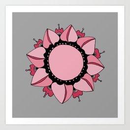 Rose, Pink & Gray Mandala Art Print