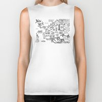new york map Biker Tanks featuring New York City Map by Claire Lordon