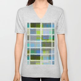 Rectangles in Blues and Greens Unisex V-Neck