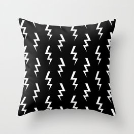 Bolts lightening bolt pattern black and white minimal cute patterned gifts Throw Pillow