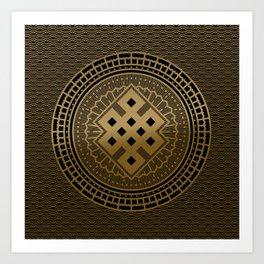 Gold Endless Knot  in Mandala Decorative Shape Art Print