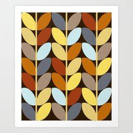Retro 70s Color Palette Leaf Pattern Art Print
