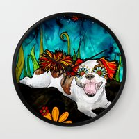 shih tzu Wall Clocks featuring Shih Tzu by RobiniArt