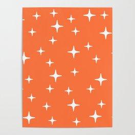 Mid Century Modern Star Pattern 443 Orange Poster