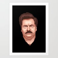 swanson Art Prints featuring Swanson by Skeleton Jack