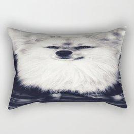 Black and White Pomeranian Rectangular Pillow