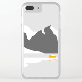 Snowy Cabin by the Mountains Clear iPhone Case