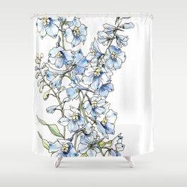 Blue Delphinium Flowers Shower Curtain