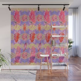 Boho Feather Zig Zag Collage | Watercolor Feather Art Print | Tan Pink Purple Wall Mural