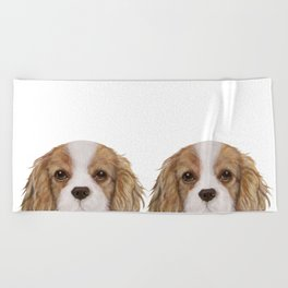 Cavalier King Charles Spaniel Dog illustration original painting print Beach Towel