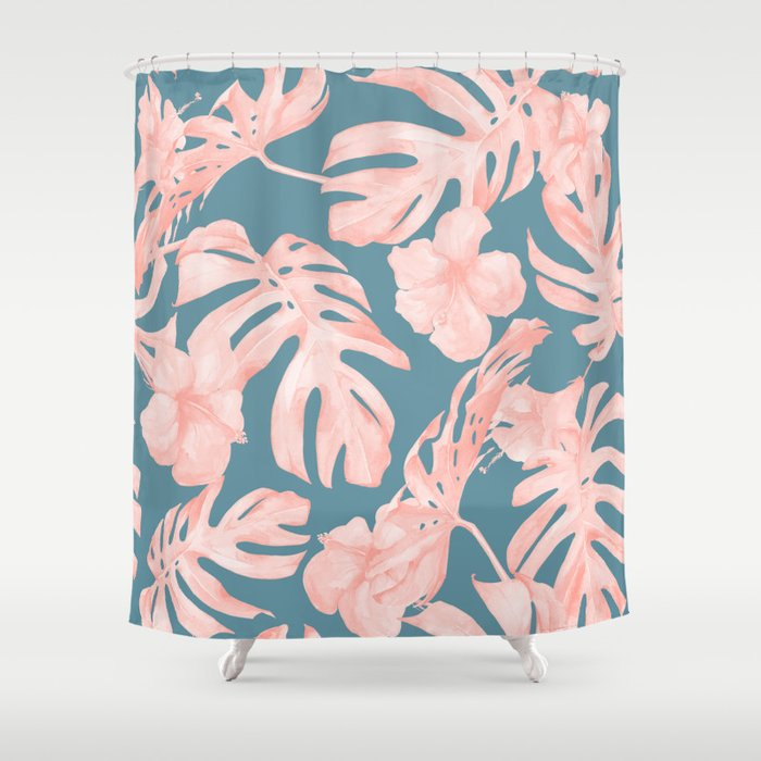 Tropical Palm Leaves And Hibiscus Pink Teal Blue Shower Curtain By Followmeinstead