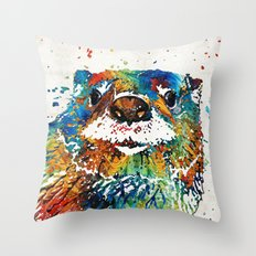 Otter Art - Ottertude - By Sharon Cummings Throw Pillow