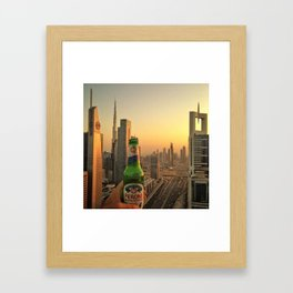 dubai skyline at dusk Framed Art Print