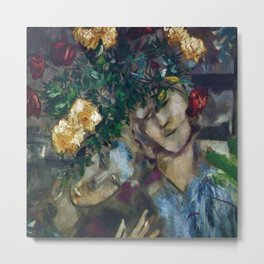 Lovers With Flowers, floral portrait painting by Marc Chagall Metal Print