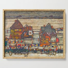Egon Schiele - Houses with laundry (Suburb II) 1914 Serving Tray