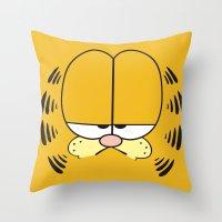garfield Throw Pillows featuring Garfield Face by julien tremeau