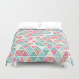 Triangulation (pink and green) Duvet Cover