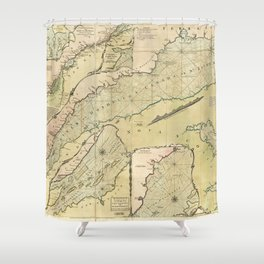 Map of the Saint Lawrence River (1771) Shower Curtain