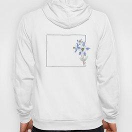 colorado // watercolor columbine state flower map Hoody