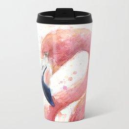 Pink Flamingo Watercolor Metal Travel Mug