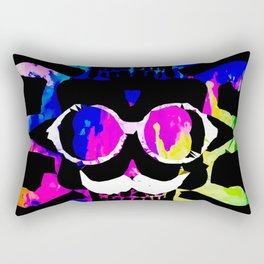 old vintage funny skull art portrait with painting abstract background in pink blue yellow green Rectangular Pillow
