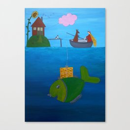 Ozzi and Lulu Fishing Canvas Print