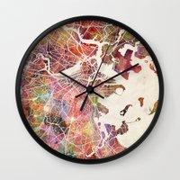 boston Wall Clocks featuring Boston by MapMapMaps.Watercolors