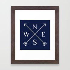 Navy Blue and White Compass Arrows Framed Art Print