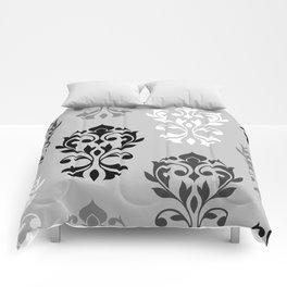Heart Damask Art I Black White Greys Comforters