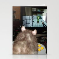 gaming Stationery Cards featuring gaming rat by Mindgoop