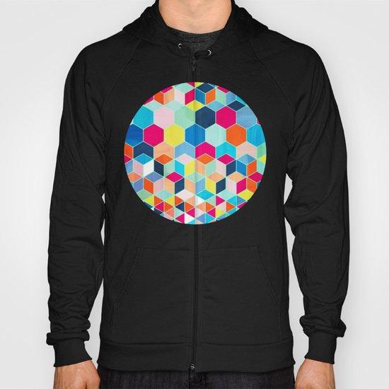 Super Bright Color Fun Hexagon Pattern Hoody