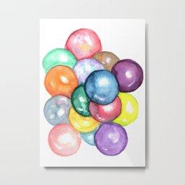 Watercolor Painting of Colorful Balls Metal Print