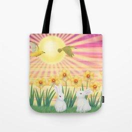 bunnies, daffodils, yellow warblers, & sunshine Tote Bag
