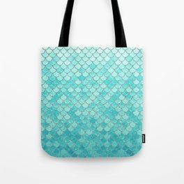 Teal Mermaid Scales Tote Bag