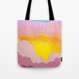 Sixties Inspired Psychedelic Sunrise Surprise Tote Bag
