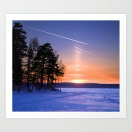 Сolumn of light and contrails Art Print