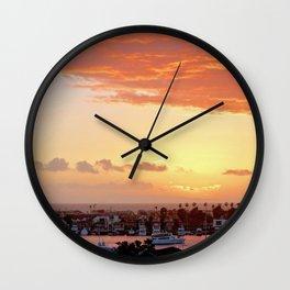Modern Sunset On Cliff Drive Newport Beach CA Wall Clock