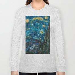 Modern interpretation of Vincent Van Gogh's scene of The Starry Night. Long Sleeve T-shirt