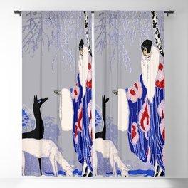 """Winter Scene"" Art Deco by George Barbier Blackout Curtain"