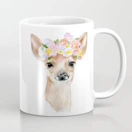 Deer Fawn Floral Watercolor Coffee Mug